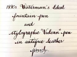 2 Vintage Black Hard Rubber Pens, ca 1890, Watermans Ideal 22 & Vulcan Stylogra