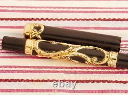 Antique Vintage Parker Lucky Curve 33 Gold Filigree Eyedropper Fountain Pen