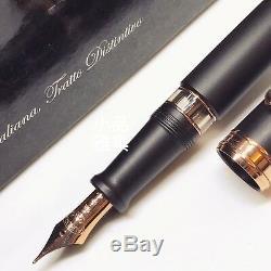 Aurora 88 Large Size Matte Black 14K Rose Gold Flex Fine nib Fountain Pen