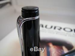Aurora Optima black with chrome trim piston filling fountain pen 14kt Stub MIB