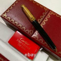 CARTIER Fountain Pen Pasha Line Gold Cap Black Nib Gold 18K