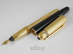 Cartier Pasha Black Lacquer and Gold Plated Fountain Pen F FREE SHIPPING