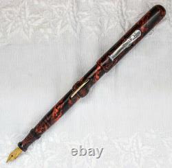 Conklin fountain pen, mottled red/black hard rubber flex nib