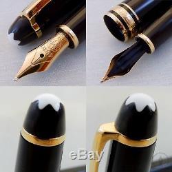 Early Montblanc 144 Black GT Fountain Pen 14K Monotone M Nib W-Germany c1980