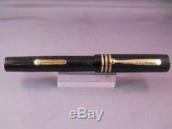 Eclipse Black Chased Fountain Pen-#8 flexible fine nib-restored