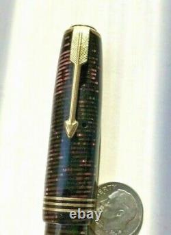 Large Parker Vacumatic 16 Fountain Pen Burgundy Opalescent Stripes DUOFOLD Nib
