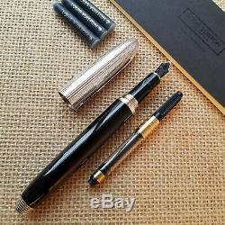 Louis Vuitton Doc Black Lacquer with Grid Pattern Cap Fountain Pen 1998