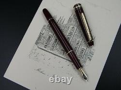 Montblanc Fountain Pen Meisterstuck 144R Burgundary Nib Solid Gold 14Kt M Red