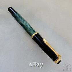 NOS Mint Old Style Pelikan M400 Green Striated Fountain Pen 14C M Nib
