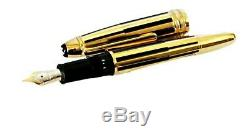 New Montblanc Le Grand Black /gold Stripes Solitaire Fountain Pen F