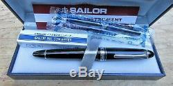 New SAILOR BLACK 21K MS Nib 1911 Large Fountain Pen Chrome Silver Trim