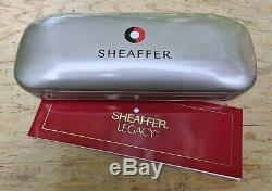 New Sheaffer Legacy 2 Matte Black w Gold Striped Cap Fountain Pen FINE 18K Nib