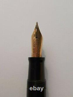Omas Gentelmen Fountain Pen Gold 14k Nib Black & Gold Plated Made In Italy