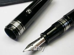 Omas Paragon Arte Italiana Black Silver 18c 750 Gold M Nib Faceted Fountain Pen