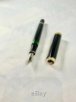 PELIKAN M800 with 14k EF gold nib, black, gold trim, W. Germany. Used. VG cond