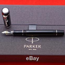 Parker Duofold Centennial Black/Palldium Fountain Pen, Fine 18kt Gold Nib