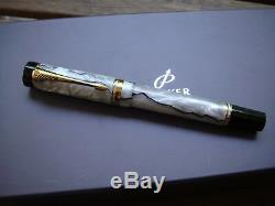 Parker Duofold Centennial Pearl&Black VINTAGE TOP 18K Fountain Pen Fine nib