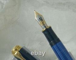 Pelikan M800 Fountain Pen, Blue/black, Gt, 18k F Nib, New, No Box