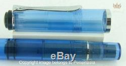 Pelikan Souveran M205 Blue Demonstrator Fountain Pen Old Model Black Ring Top