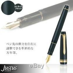 Pilot JUSTUS 95 Adjustable Nib Fountain Pen Medium Nib Stripe Black FJ-3MR-SB-M
