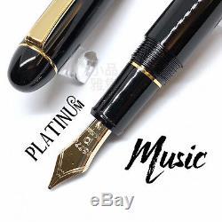 Platinum 3776 Century Black 14K Music nib Fountain Pen 2 color Trim to Choose