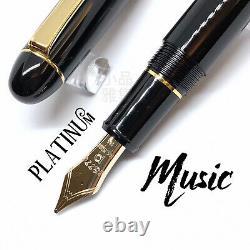 Platinum 3776 Century Black Gold Trim 14K Fountain Pen MUSIC nib