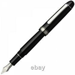 Platinum #3776 Century RHODIUM Fountain Pen Black in Black MS Nib PNBM-25000R