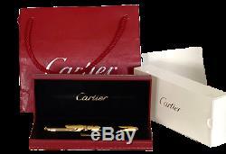 Precious Cartier Dandy Le 1847 Gold Foils Black Lacquer Fountain Pen