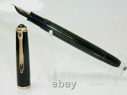 Rare NR MINT vintage black striated PELIKAN 400NN fountain pen 14ct OB nib