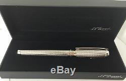 S. T. Dupont D Line Blazon Fountain Pen, Palladium Finish, 410671, New In Box