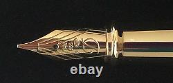 S. T. Dupont D Line Fountain Pen, Black Lacquer & Gold Accents, 410574, NIB