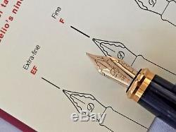 ST DUPONT Fidelio Black laquer and gold trim Fountain Pen 14k Fine Nib