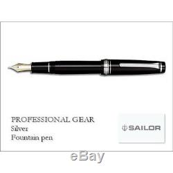 Sailor 1911 Professional Gear Silver Fountain Pen Black Fine Nib 11-2037-220