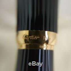 Vintage Authentic Louis Cartier Fountain Pen Godron Black Resin 18K GoldNib(New)