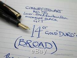 Vintage Conway Stewart No. 58 Fountain Pen Black 14k Gold Broad DURO Nib Nr Mint