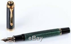 Vintage Double Chick Pelikan M800 Fountain Pen Black-Green with 18 K M-nib
