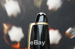 Vintage MONTBLANC 144 fountain pen Black Excellent 14K yellow gold EF nib