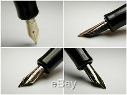 Vintage Matador Click Fountain Pen-Black Piston Filler-14K Nib-Germany 1950s