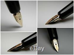 Vintage Montblanc 252 Fountain Pen-Jet Black Piston Filler-14K-Germany 1950s