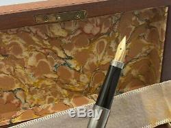 Vintage Parker 75 Bicentennial Pewter Fountain Pen 14K Med Nib Boxed