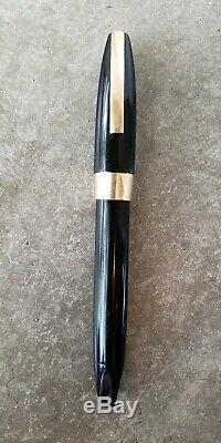 Vintage Sheaffer 14k Gold Black Snorkel Fountain Pen White Dot 1960s