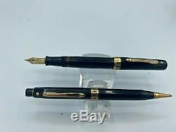 Vintage WAHL DORIC Fountain Pen + Pencil Gold Seal BLACK GT 14k NIB Restored