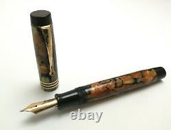 Vtg 20s Parker Duofold DeLuxe Junior Fountain Pen 14k Gold Nib Marbled 11.5cm