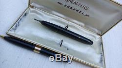 Vtg PFM Sheaffer White dot Snorkel 14k nib fountain Pen Pencil set Black Gold