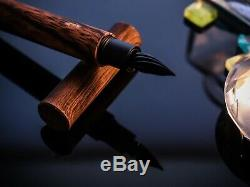 WANCHER Glass nib fountain pen. Black specification Venus, Wood pattern Limited