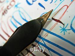 Waterman 15 Red & Black Mottled HR Fountain Pen Eyedropper vtg #5 14k Gold Nib
