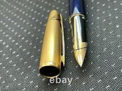 Waterman Edson Sapphire Blue 23Kt Gold-Plated Satin Cap Medium Pt. 18kt Gol Nib