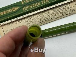 1925 Nos Parker Noir Incliné Jade Pré-duofold Fountain Pen Boxed Mint Unused