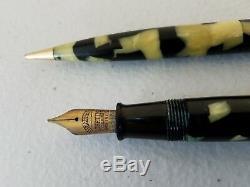 1935 Sheaffer Vie Équilibre Principal Oversize Black Pearl Fountain Pen + Crayon