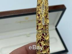 $ 75k Caran D ' Ache Riviera Fountain Pen 18k Or Massif Et Énorme Diamant 1/1 En